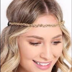 Anthropologie Gold 3-Layered Beaded Crown M/L NWOT